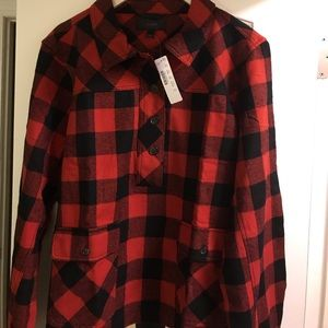 JCREW red/Blk plaid Colton/wool blend pop over